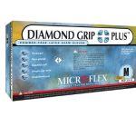Exam Gloves Diamond Grip Plus NonSterile PF Latex Gloves Fully Textured White Small