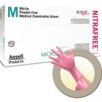 Exam Gloves Micro-Touch NitraFree NonSterile PF Nitrile Gloves Textured Fingertips Pink Chemo Tested Small