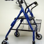 4 Wheel Rollator sunmark Econo 32 to 37 Inch Blue Folding Aluminum