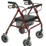 4 Wheel Rollator Go-Lite Red Oversized Steel 32 to 39 Inch