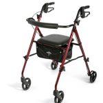 4 Wheel Rollator Freedom Burgundy Ultra Lightweight 29.5 to 36 Inch