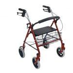 4 Wheel Rollator drive Red Folding Steel