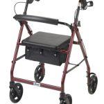 4 Wheel Rollator drive Blue Adjustable Height Aluminum