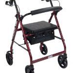 4 Wheel Rollator drive Red Adjustable Height Aluminum