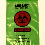 Specimen Transport Bag with Document Pouch LAB-LOC® 6 X 9 Inch Low Density Polyethylene Biohazard Symbol / Storage Instructions Zip Closure NonSterile