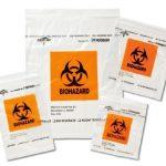 Specimen Transport Bag with Document Pouch 6 X 9 Inch Plastic Biohazard Symbol / Storage Instructions Zip Closure NonSterile